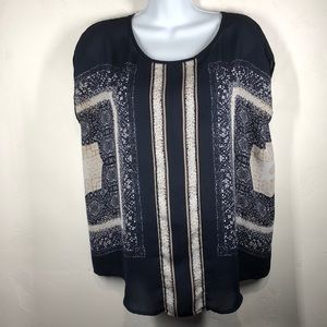 Cynthia Rowley Navy print poncho blouse size med